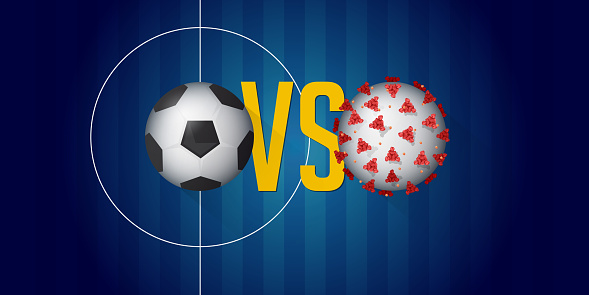 Ilustración de Coronavirus O Bandera De Covid19 En El Concepto De Crisis De  Fútbol O Fútbol
