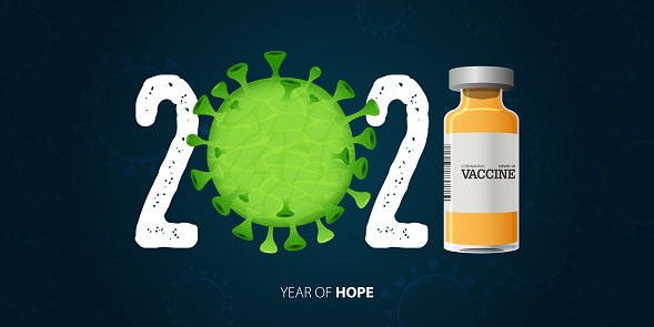 Coronavirus or Covid-19 banner with Covid-19 Vaccine and Virus. Year of hope. Banner design template for New Year 2021 decoration in Covid-19 Vaccine Concept.
