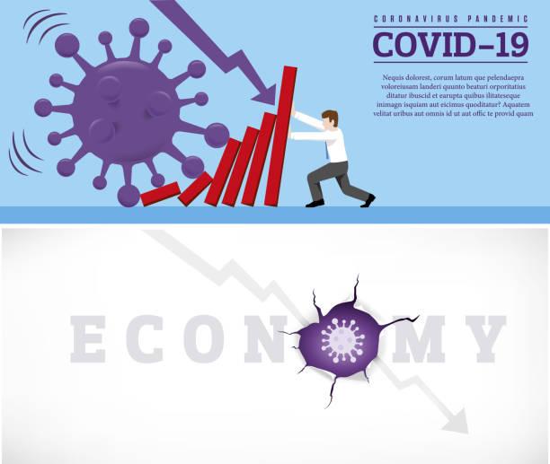 stockillustraties, clipart, cartoons en iconen met coronavirus uitbraak veroorzaken een domino-effect op de financiële crisis. bedrijfsbedrijfseconomische instortingsconcept - tears corona