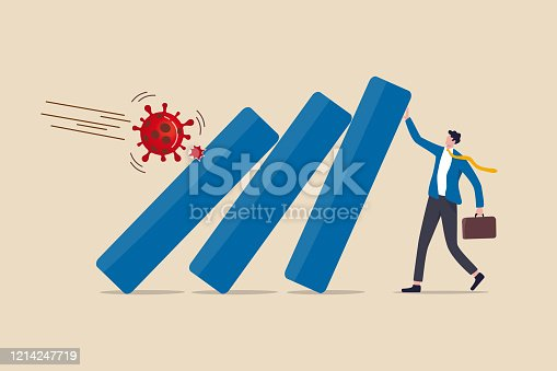 istock COVID-19 Coronavirus outbreak financial crisis help policy, company and business to survive concept, businessman leader help pushing bar graph falling in economic collapse from COVID-19 virus pathogen 1214247719