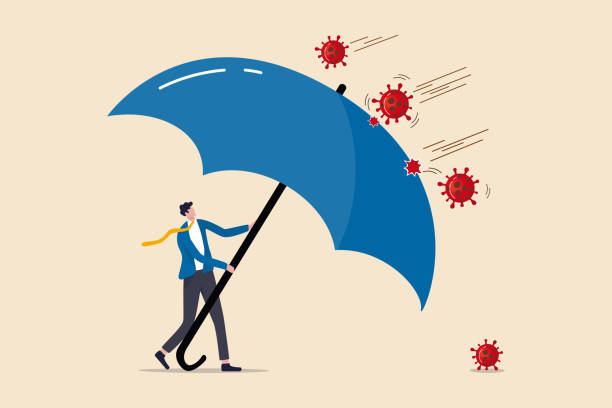COVID-19 Coronavirus outbreak financial crisis help policy, company and business to survive concept, businessman leader stand safe by cover himself with big umbrella from COVID-19 Coronavirus pathogen COVID-19 Coronavirus outbreak financial crisis help policy, company and business to survive concept, businessman leader stand safe by cover himself with big umbrella from COVID-19 Coronavirus pathogen crisis stock illustrations