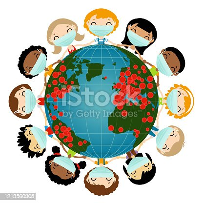 Earth globe and children in surgical masks around it isolated on a white background.