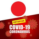 Vector of Coronavirus outbreak warning against an Japanese flag. Concept of increasing cases of Coronavirus in the Japan.