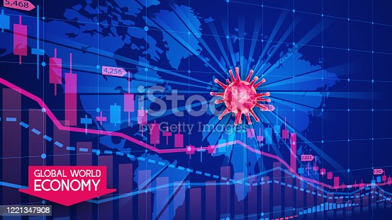 Coronavirus pandemic and the global economic crisis. Covid-19. Blue background with a map of the planet Earth. The fall of stock market indices. Forex charts with candles. Vector illustration.
