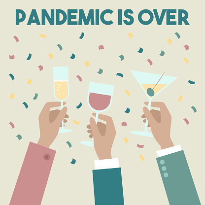 Coronavirus pandemic is over. People celebrating the end of the pandemic, vector illustration.