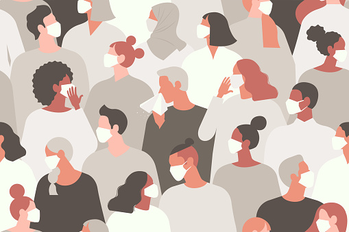 Coronavirus pandemic. Novel coronavirus (2019-nCoV), people in white medical face mask. Concept of coronavirus quarantine vector illustration. Seamless pattern.