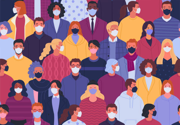 Coronavirus pandemic seamless pattern. Vector illustration of multiethnic crowd of people in medical masks in trendy flat style. crowd of people stock illustrations