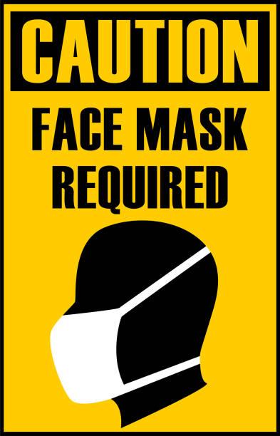 bildbanksillustrationer, clip art samt tecknat material och ikoner med coronavirus pandemiska varningstecken med text ingen mask ingen service på gul kontur med svart. silhuett av personhuvud bär skyddsmask på information skyltning. - face mask