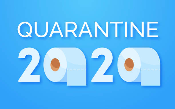 illustrazioni stock, clip art, cartoni animati e icone di tendenza di coronavirus panic 2020 concept. stocking up toilet paper for home quarantine. panic covid-19 outbreak. letters and rolls of toilet paper on blue background - carta igienica
