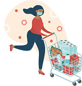 Coronavirus panic shopping. Terrified woman wearing medical mask runnig with full cart buying all groceries she can find in supermarket. COVID-19 concept flat vector character