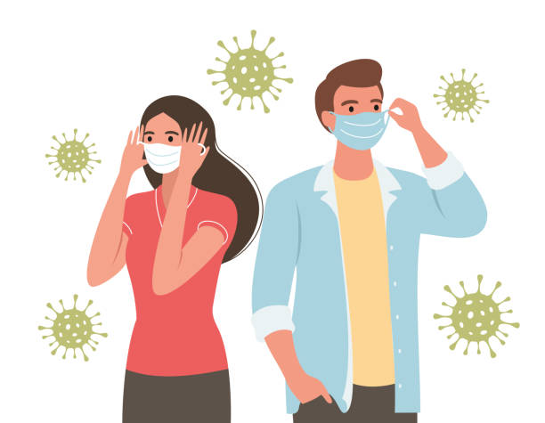 coronavirus people in facemask People wearing a facemask. Wuhan corona virus (Covid-19 or 2019-ncov)illustration. Virus ptotection hand draw deathly stock illustrations