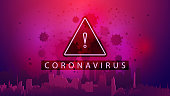 Coronavirus, pink poster with triangle warning sign with silhouette of City on horizon and coronavirus molecules on background
