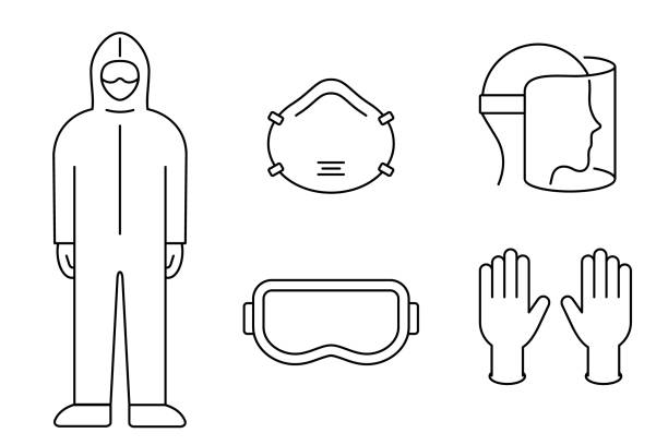 Coronavirus prevention equipment line icon set. Protective suit, mask, gloves, goggles, face shield. Black outline on white background. PPE personal protection. Precaution measures. Vector, clip art. protective workwear stock illustrations