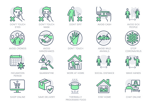 Coronavirus prevention line icons. Vector illustration include icon - social distance, quarantine violation, incubation period, avoid handshakes, stay home pictogram for infographic, green color