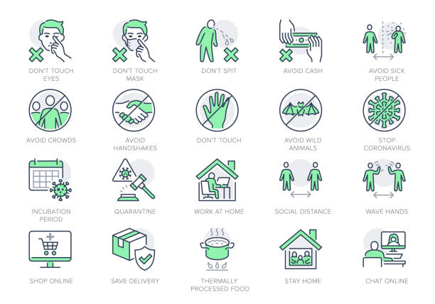 Coronavirus prevention line icons. Vector illustration include icon - social distance, quarantine violation, incubation period, avoid handshakes, stay home pictogram for infographic, green color Coronavirus prevention line icons. Vector illustration include icon - social distance, quarantine violation, incubation period, avoid handshakes, stay home pictogram for infographic, green color. distant stock illustrations