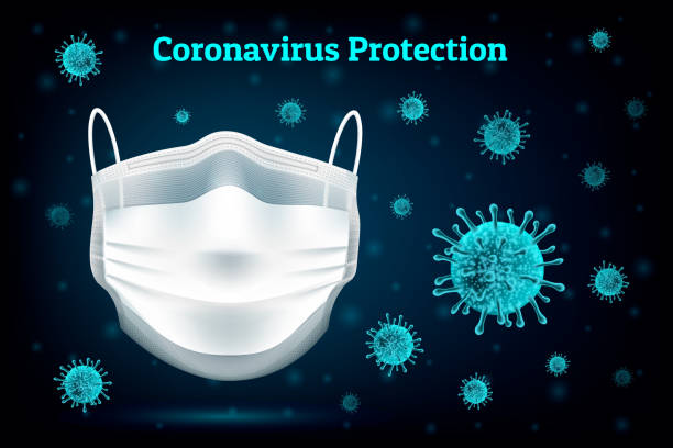 coronavirus protection mask - covid mask stock illustrations