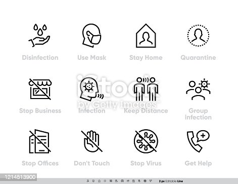 istock Coronavirus Protection Measures icon set. Vector Pack for infographic or website Contains such Icons as Disinfection, Use Mask, Stay Home, Quarantine, Stop Business, Stop Offices, Infection, Keep Distance, Group Infection, Do Not Touch, Stop Virus, Get He 1214513900