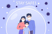 Coronavirus protection poster concept. Young family wearing medical masks standing inside a protective glass bubble. Protected from the COVID-2019 novel. Stay safe. Quarantine. Vector illustration