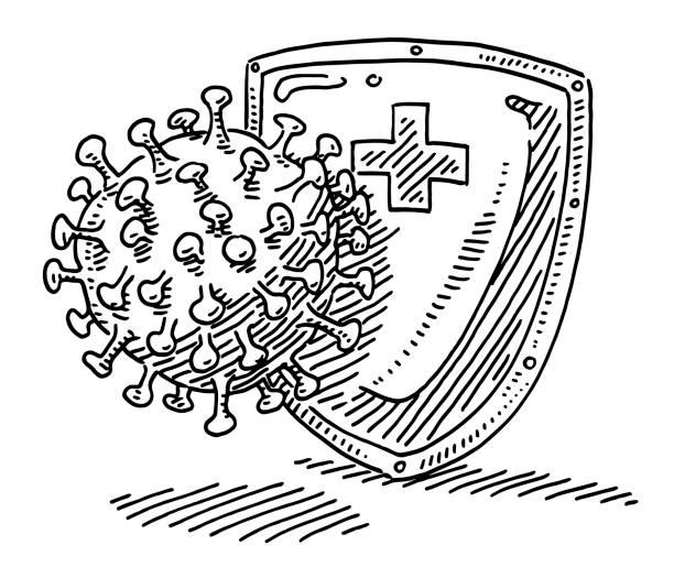 Coronavirus Protection Shield Drawing vector art illustration