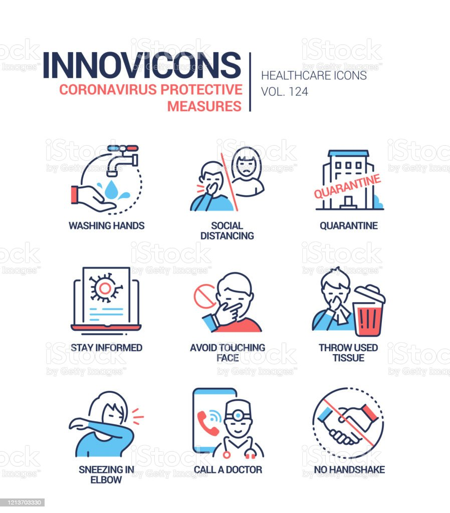 Coronavirus protective measures - line design style icons Coronavirus protective measures - line design style icons. Wash hands, social distance, quarantine, do not touch face, throw used tissue, sneezing in elbow, call a doctor, no handshake recommendations Advice stock vector