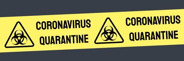 Coronavirus quarantine banner Coronavirus quarantine banner vector sign. Covid-19 pandemic. Virus infection danger warning. biohazardous substance stock illustrations