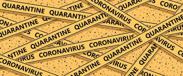 illustrazioni stock, clip art, cartoni animati e icone di tendenza di coronavirus quarantine cordon tape - lockdown