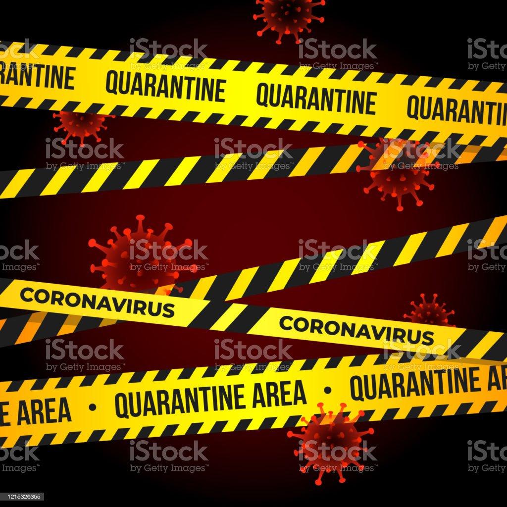 quarantine covid virus coronavirus flying particles tape warning outbreak pandemic novel protection ncov alertness vector concentration barricade ribbon award