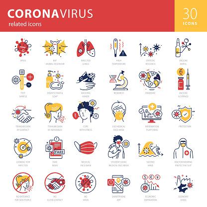 Coronavirus Related Trendy Icons Set