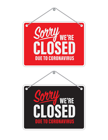 Coronavirus restaurant closed sign