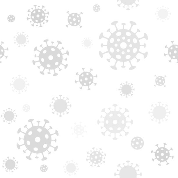 coronavirus seamless patten. vector light gray minimal background with covid-19 virus microorganism - coronavirus stock illustrations