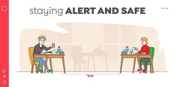 Coronavirus Social Distancing Landing Page Template. Characters Sitting at Disinfected Cafe on Distance and Drink Coffee