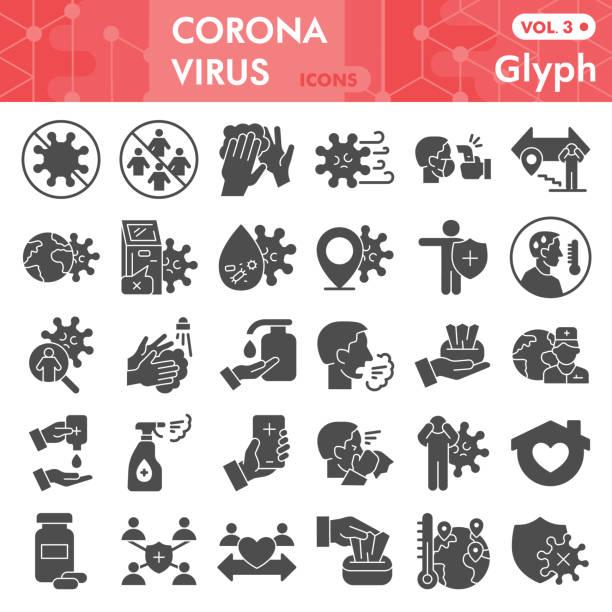 冠狀病毒固體圖示集。covid-19 符號集合或向量草圖。冠狀病毒標誌的計算機網路,字形樣式象形圖包隔離在白色背景。向量圖形。 - 疫病預防 幅插畫檔、美工圖案、卡通及圖標