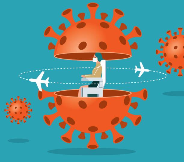 ilustrações de stock, clip art, desenhos animados e ícones de coronavirus spread plane - businesswoman - covid flight
