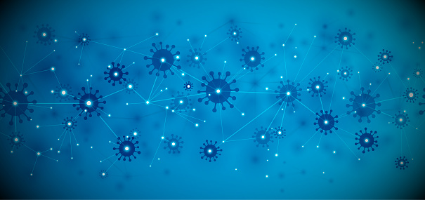 Covid-19 abstract blue network background vector illustration