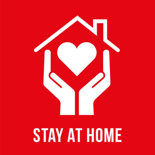 ilustraciones, imágenes clip art, dibujos animados e iconos de stock de coronavirus - hotel en casa símbolo. - stay home