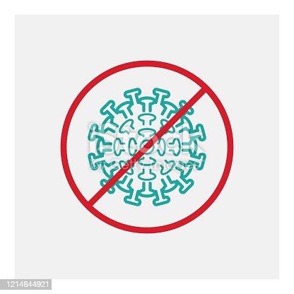 Coronavirus stop pandemic alert stock illustration. EPS 10.