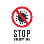 istock Coronavirus stop sign on white background. Vector 1212164481