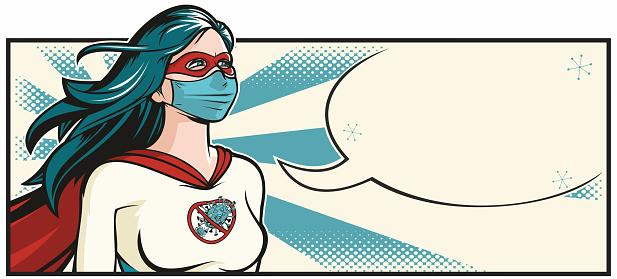 Comic book style pop art illustration of a superhero doctor fighting the good battle against the Coronavirus, or Covid-19.