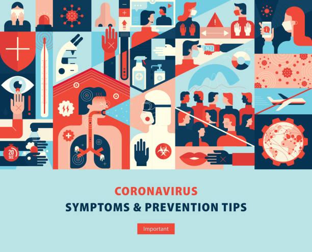 Coronavirus Symptome und Prävention Tipps Template Cover – Vektorgrafik