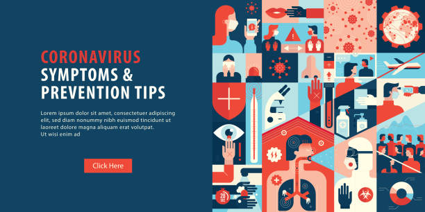 coronavirus symptoms and prevention tips web banner - e-learning not icons stock illustrations