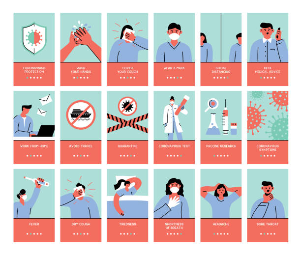 coronavirus symptoms and protection - face mask illustrations stock illustrations