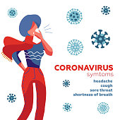 istock Coronavirus Symptoms, Mers Cov is a common virus that causes an infection in your nose, sinuses, or upper throat. Middle East respiratory syndrome coronavirus Sign. Woman sneezing in handkerchief 1201705162