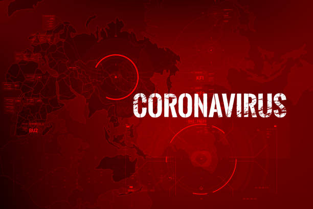 coronavirus text outbreak with the world map and hud 0002 - covid stock illustrations