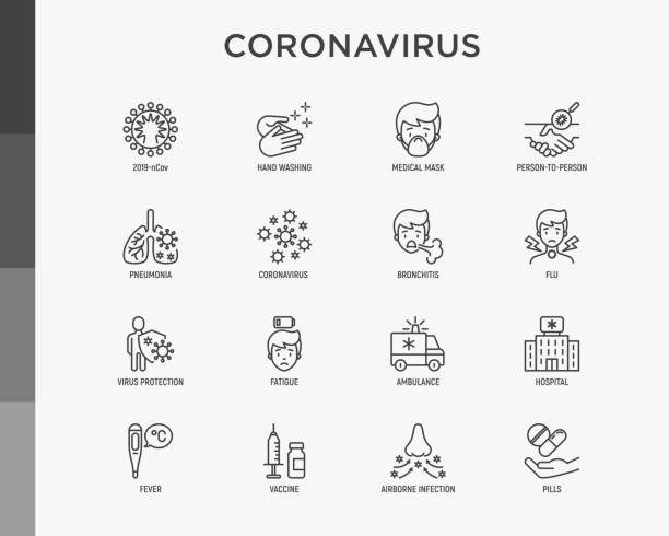 Coronavirus thin line icons set. Symptoms and prevention: 2019-ncov, surgical mask, person-to person, hand washing, pneumonia, bronchitis, ambulance, hospital, fatigue, vaccine. Vector illustration. Coronavirus thin line icons set. Symptoms and prevention: 2019-ncov, surgical mask, person-to person, hand washing, pneumonia, bronchitis, ambulance, hospital, fatigue, vaccine. Vector illustration. covid icon stock illustrations