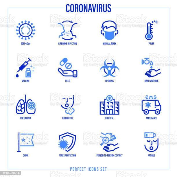 코로나 바이러스 얇은 라인 아이콘 설정 바이러스 공중 감염 의료 마스크 발열 백신 손 씻기 돋보기 아래 박테리아 폐렴 폐에 염증 사람에 사람 벡터 그림 COVID-19에 대한 스톡 벡터 아트 및 기타 이미지