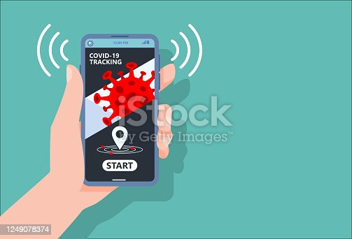 istock Coronavirus tracking apps concept with hand holding smartphone and application design on screen for reduce COVID-19 spreading after quarantine detecting infected people.Vector Illustration.copy space. 1249078374