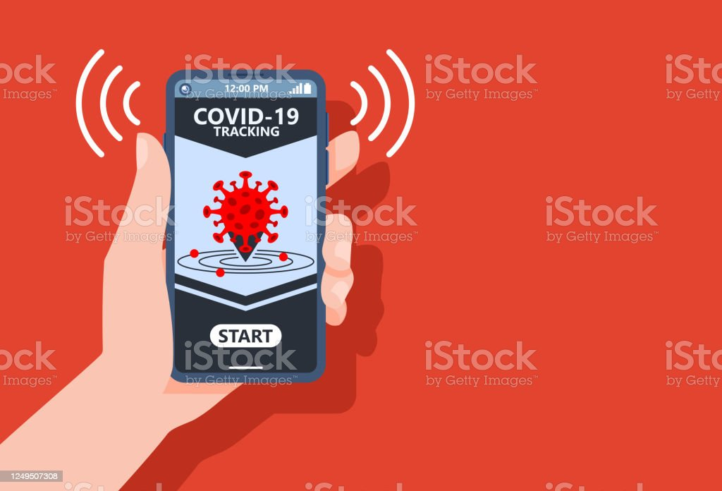 Coronavirus Tracking Apps Konzept mit Hand halten Smartphone und Anwendungsdesign auf dem Bildschirm zur Verringerung der COVID-19 Verbreitung nach Quarantäne Erkennung infizierter Menschen. Vector Illustration.copy Leerzeichen. - Lizenzfrei Abstand halten - Infektionsvermeidung Vektorgrafik