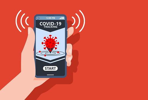 Coronavirus Tracking Apps Konzept Mit Hand Halten Smartphone Und Anwendungsdesign Auf Dem Bildschirm Zur Verringerung Der Covid19 Verbreitung Nach Quarantäne Erkennung Infizierter Menschen Vector Illustrationcopy Leerzeichen Stock Vektor Art und mehr Bilder von Abstand halten - Infektionsvermeidung