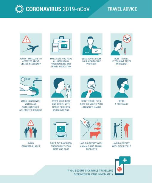 ilustraciones, imágenes clip art, dibujos animados e iconos de stock de consejos y prevención de viajes del coronavirus - flu