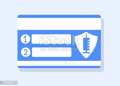 Coronavirus vaccination, immunization passport card for double dose injection. Reminder about second shot of vaccine in week, month. String for name, date of doctor's visit. Vector flat illustration.